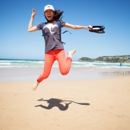 Jade jumping on Manly Beach