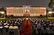 Reunification Palace Light show in Saigon, 2013, by Adam Robert Young.